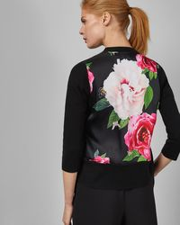 Ted Baker - Magnificent Printed Back Cotton Blend Wrap Cardigan - Lyst