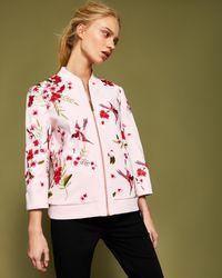 Ted Baker - Soft Blossom Embroidered Bomber Jacket - Lyst