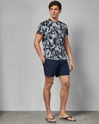 80a343aa4f9a9f Ted Baker Mountain Print Swim Shorts in Blue for Men - Lyst