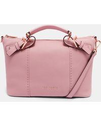 Ted Baker - Pop Handle Small Leather Tote Bag - Lyst