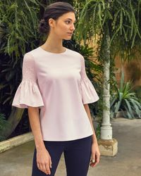 Ted Baker - Smocked Fluted Sleeve Top - Lyst