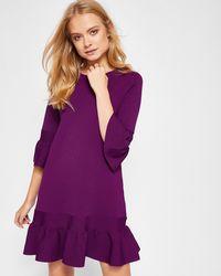 Ted Baker - Peplum Sleeved Knitted Dress - Lyst