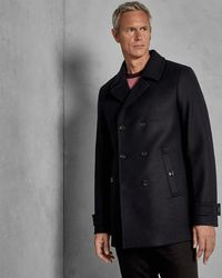 82f1b7e74a46c2 Ted Baker Watts Checked Double-breasted Overcoat in Gray for Men - Lyst