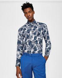 Ted Baker - Phormal Leaf Print Cotton Shirt - Lyst