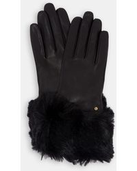 Ted Baker - Leather Faux Fur Trim Gloves - Lyst
