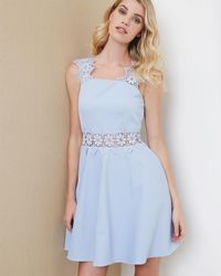 Ted Baker - Lace Detail Textured Dress - Lyst