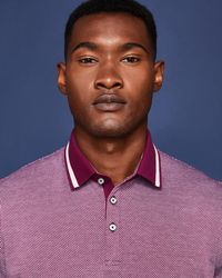Ted Baker - Striped Collar Cotton Polo Shirt - Lyst