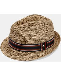 039cc7735489c1 Ted Baker Natural Woven Band Trilby Straw Hat in Natural for Men - Lyst