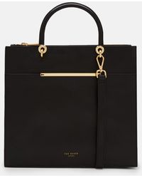 Ted Baker - Metallic Bar Detail Leather Tote Bag - Lyst