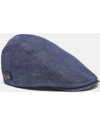 Ted Baker Houndstooth Flat Cap in Gray for Men - Lyst 23b933b3785d