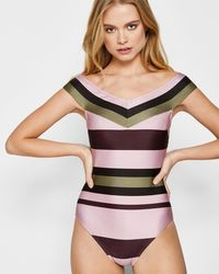 Ted Baker - Imperial Stripe Bardot Swimsuit - Lyst