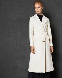 Ted Baker - Wide Collar Long Wool Wrap Coat - Lyst