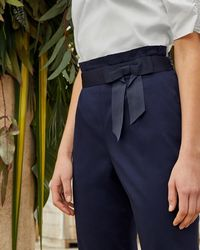 Ted Baker - Fixed Bow Belt Cotton Trousers - Lyst