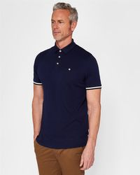 Ted Baker - Striped Cuff Cotton Polo Shirt - Lyst