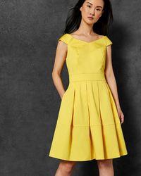 029d4779ab Ted Baker Cold Shoulder Bow Detail Dress in Pink - Lyst