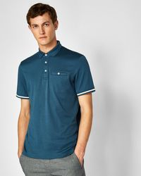 Ted Baker - Stripe Cuff Cotton Polo Shirt - Lyst