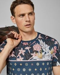 Ted Baker - Floral Printed Cotton T-shirt - Lyst