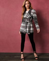 Ted Baker - Short Check Wool Wrap Coat - Lyst