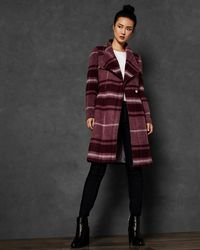 Ted Baker - Check Long Wrap Coat - Lyst