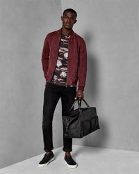 Ted Baker - T-shirt In Dark Red With Forest Print - Lyst