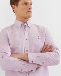 Ted Baker - Linen And Cotton-blend Shirt - Lyst