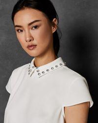 Ted Baker - Embellished Collar Top - Lyst
