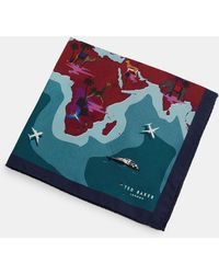 Ted Baker - Map Print Silk Pocket Square - Lyst