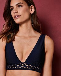 Ted Baker - Embroidered Low V Bikini Top - Lyst