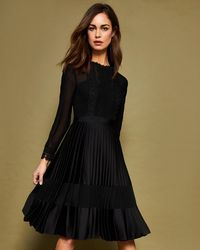 Ted Baker - Lace Trim Pleated Midi Dress - Lyst