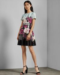 909375792 Lyst - Ted Baker Colour-block Knitted Dress