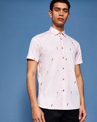 Ted Baker - Parrot Filcoupe Cotton Shirt - Lyst