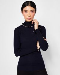 Ted Baker - Frilled Cotton And Silk-blend Roll Neck Jumper - Lyst