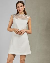 946c9d3f48b Ted Baker Crystal Droplets Cape Dress in Natural - Lyst