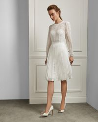 Ted Baker - Lace Trim Pleated Skirt Dress - Lyst