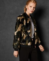 Ted Baker - Camo Faux Fur Bomber - Lyst