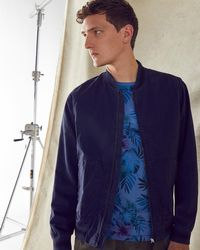 Ted Baker - Striped Trim Cotton Bomber Jacket - Lyst
