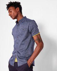 Ted Baker - White Noise Print Cotton Shirt - Lyst