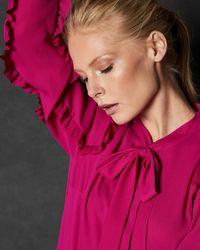 ac600bdfdf088 Ted Baker - Leenar Ruffled-sleeve Tie-neck Blouse - Lyst
