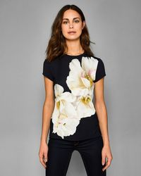 5fcc945ab6a4e9 Ted baker Graphic Floral Print Knit Tee in Natural