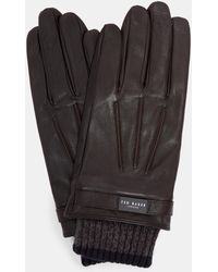 Ted Baker - Ribbed Cuff Leather Gloves - Lyst