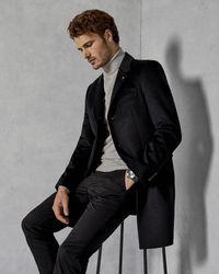 b44e085295521b Ted Baker Shearling Collar Coat in Gray for Men - Lyst