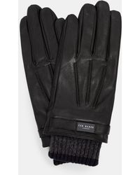 Ted Baker   Ribbed Cuff Leather Gloves   Lyst