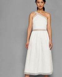 f7cffc79f9129 Ted Baker Draped Skirt Dress in White - Lyst