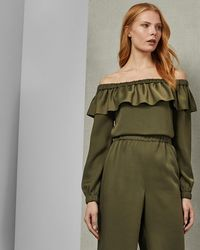 Ted Baker - Bardot Ruffle Jumpsuit - Lyst