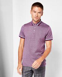 Ted Baker - Bates Flat Knit Colar Polo Shirt - Lyst