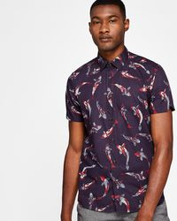 Ted Baker - Fish Print Cotton T-shirt - Lyst