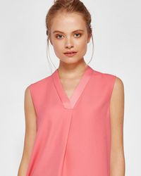 Ted Baker - Sleeveless Pleated Detail Top - Lyst