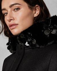 Ted Baker - Embellished Wool Parka Coat - Lyst