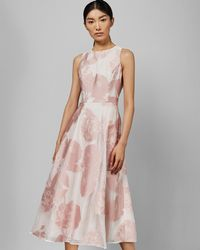 Ted Baker - Wylieh Floral Jacquard Midi Dress - Lyst