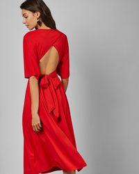 Ted Baker - Cross Over Wrap Midi Dress - Lyst